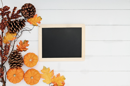 Rustic fall background of autumn leaves, pine cones and mini pumpkins with chalkboard for free copy space for text over a rustic background. Image shot from overhead.