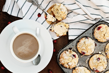 Coffee and cranberry muffins. Image shot from above. Stock Photo