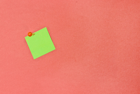 Blank green note pad paper over coral color background with free space for text. Image shot from above.