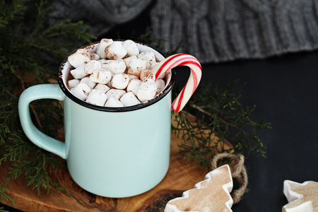 Enamel cup of hot cocoa drink with marshmallows and candy cane against a rustic background with beautiful wood Christmas tree ornaments and a grey scarf. Perfect winter time treat. Stock Photo