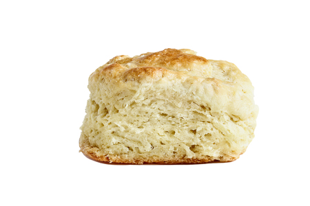 Buttermilk southern biscuit or scone isolated over a white background with light shadow and clipping path..