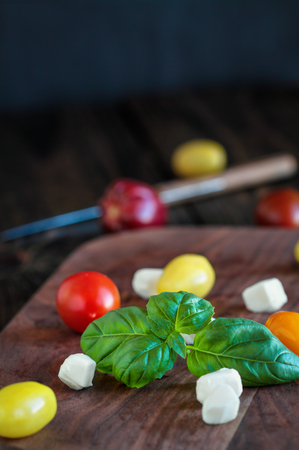 Fresh from the garden basil and heirloom tomatoes with mozzarella cheese for caprese salad, italian food and healthy vegetarian diet concept, over a rustic wooden background. Stock Photo
