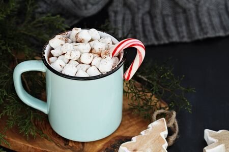 Enamel cup of hot cocoa drink with marshmallows and candy cane against a rustic background with beautiful wood Christmas tree ornaments and a grey scarf. Perfect winter time treat. Фото со стока