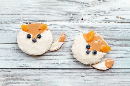 Funny food for kids. Rice cakes in the shape of foxes lying on a rustic white table. Fox is made from cream cheese, peanut butter, apple slices, oranges and blueberries. Top view, flay lay position. 版權商用圖片