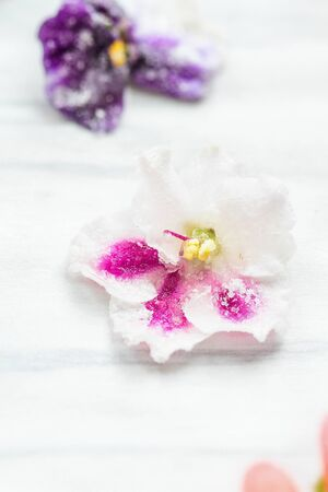 Homemade sugared or crystallized edible violet flowers on a white wooden rustic table. Selective focus with blurred background. 版權商用圖片