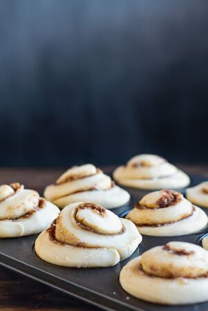 Fresh made homemade tall cinnamon roll rising in a muffin tin. Extreme selective focus with blurred foreground and background. 版權商用圖片