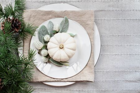 Thanksgiving Day or Christmas place setting with white plates, mini white pumpkins, Lambs Ears leaves, flowers and pine branch over grey table runner. 版權商用圖片