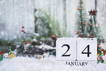 White wood calendar blocks with the date January 24th and Christmas decorations with snow. Selective focus with blurred background.