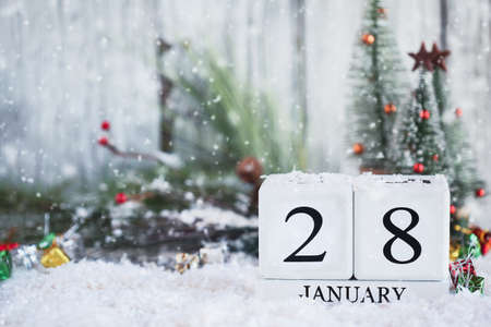 White wood calendar blocks with the date January 28th and Christmas decorations with snow. Selective focus with blurred background. Stockfoto