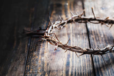 Christian crown of thorns like Christ wore with blood drops over a rustic wood background with dust flying in air. Selective focus with blurred background.
