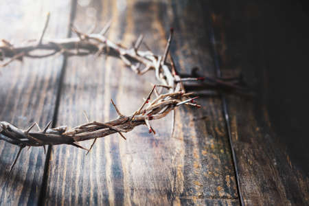 Christian crown of thorns like Christ wore with blood drops over a rustic wood background or table. Selective focus with blurred background.