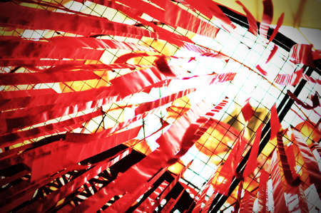 Chinese New Year Red Ribbons Hanging High  Stock Photo
