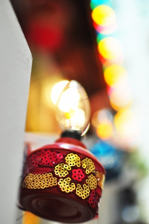 Red Oil Lamp Hanging on Staircase Stock Photo - 13850624