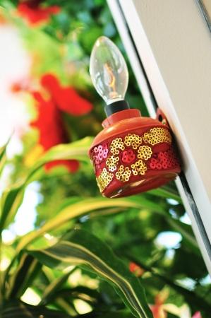 Red Oil Lamp On Pillar Stock Photo - 14672256