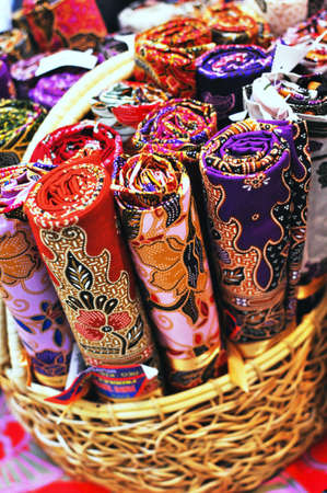 Batik in basket Stock Photo