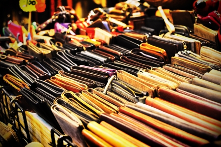 night market: Leather Wallets for sale at night market