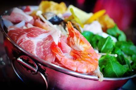 Steamboat pot with seafood