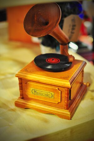 record player: small wooden record player