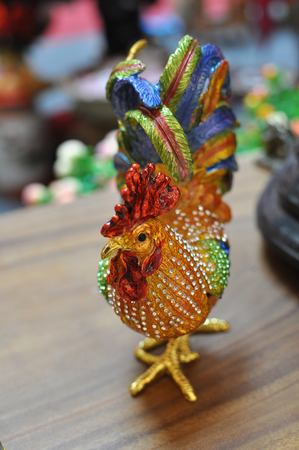 Beaded crystal Rooster Figurine ushering good luck in lunar new year