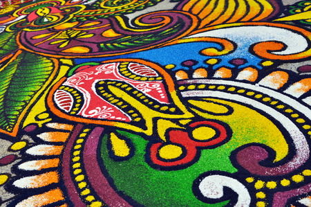 Partial Photo of Indian Kolam (Floor Art) during festival of lights