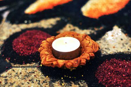 Deepavali Oil lamp placed artful kolam, floor art