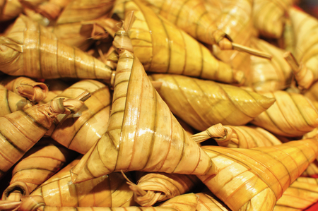 compressed rice: Ketupat bundle ready to be serve during Hari Raya