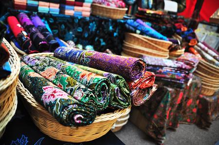 Popular Malaysian Fabric with Batik prints Stock Photo
