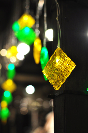Ketupat Decoration Ornaments for Hari Raya With Bokeh Effect