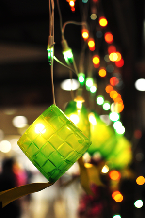 malaysia culture: Green Ketupat Decorative Lightings during Hari Raya