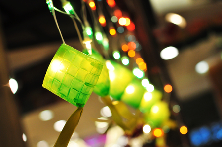 aidilfitri: Ketupat Ornaments Lightings decorations for Muslim Festive Hari Raya Stock Photo