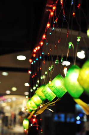 Bokeh Effect of Ketupat Lightings decoration