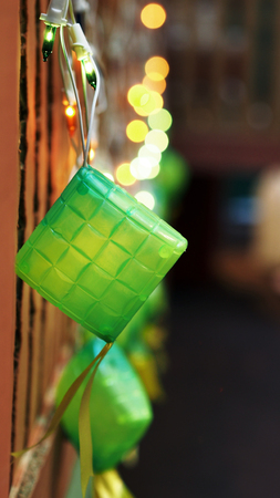 compressed rice: Green Ketupat Lightings on Display for Hari Raya
