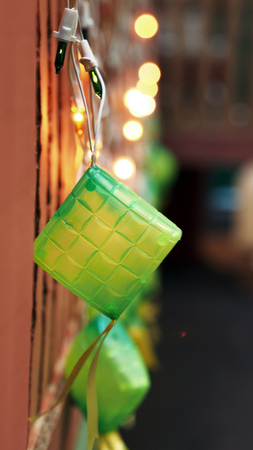 compressed rice: Close-up Ketupat Lightings on Display for Hari Raya Stock Photo