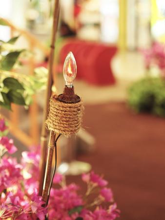 Pelita or tea lamp during Muslim celebration  Hari Raya