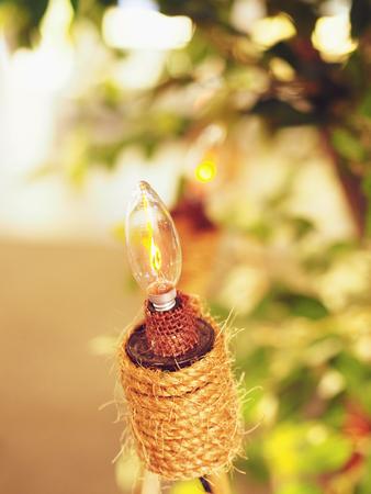 Pelita or tea lamp during Muslim celebration in Malaysia Village Kampung
