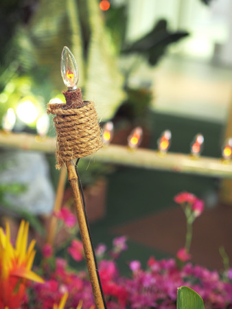 Close up pelita tied to a bamboo stick