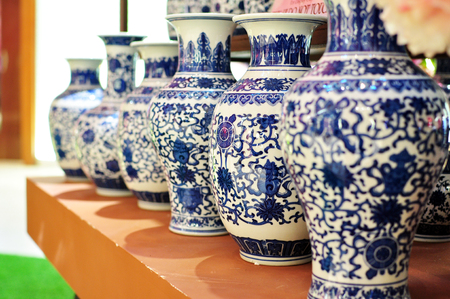 a group of Chinese oriental art vase, ancient decorative pottery