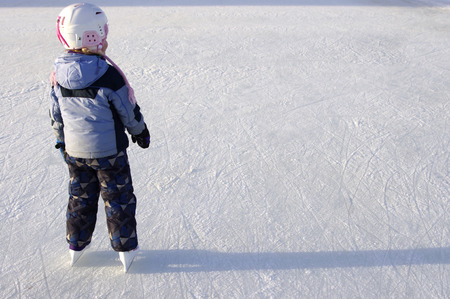 A young girl skating on the Rideau Canal  Stock Photo