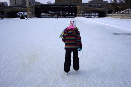 rideau canal: A young girl skating on the Rideau Canal