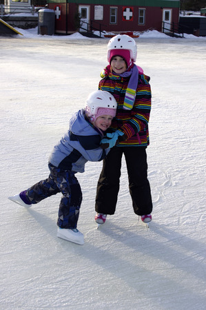 frozen lake: Young Skaters on the Rideau Canal