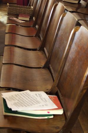 chorale: Wooden seats in a church choir Stock Photo