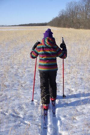 Girl cross country skiing in a field 版權商用圖片