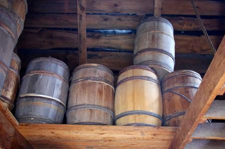 Stock Photo   Wooden Barrels In Storage