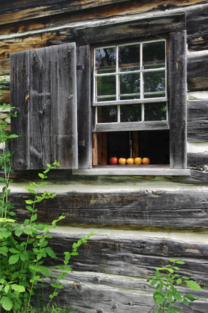 sill: apples on a wooden window sill Stock Photo