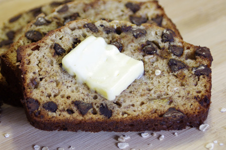 bake sale: Homemade banana bread with butter