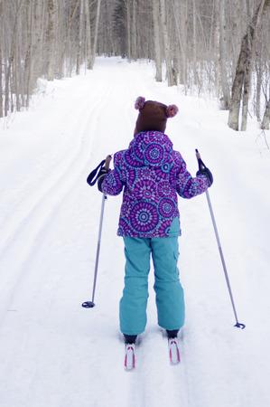 cross country: Girl Cross Country Skiing Stock Photo