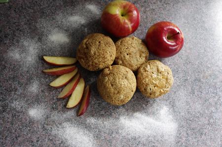 fresh baked: fresh baked apple muffins Stock Photo