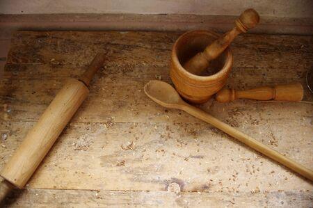 wooden baking tools on wood table top Banco de Imagens