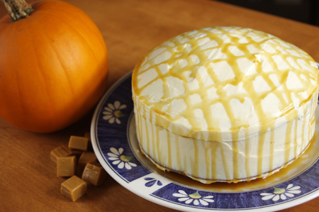 homemade pumpkin cake with caramel sauce