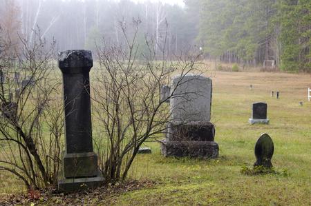 tombstones: tombstones in foggy cemetery
